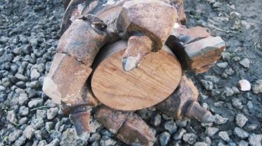 Hollow stem auger bit with sacrificial wooden plug.