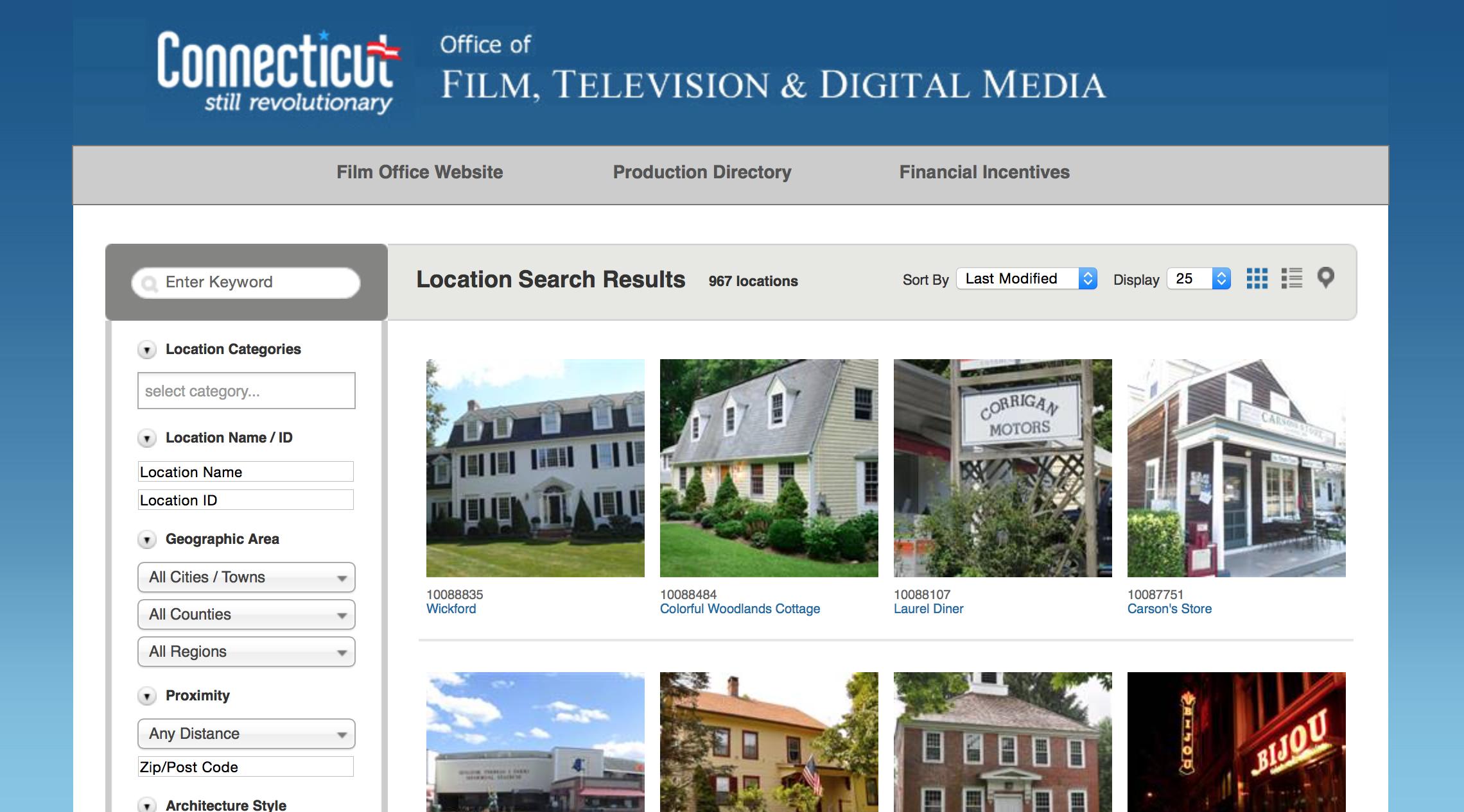CT Film locations website