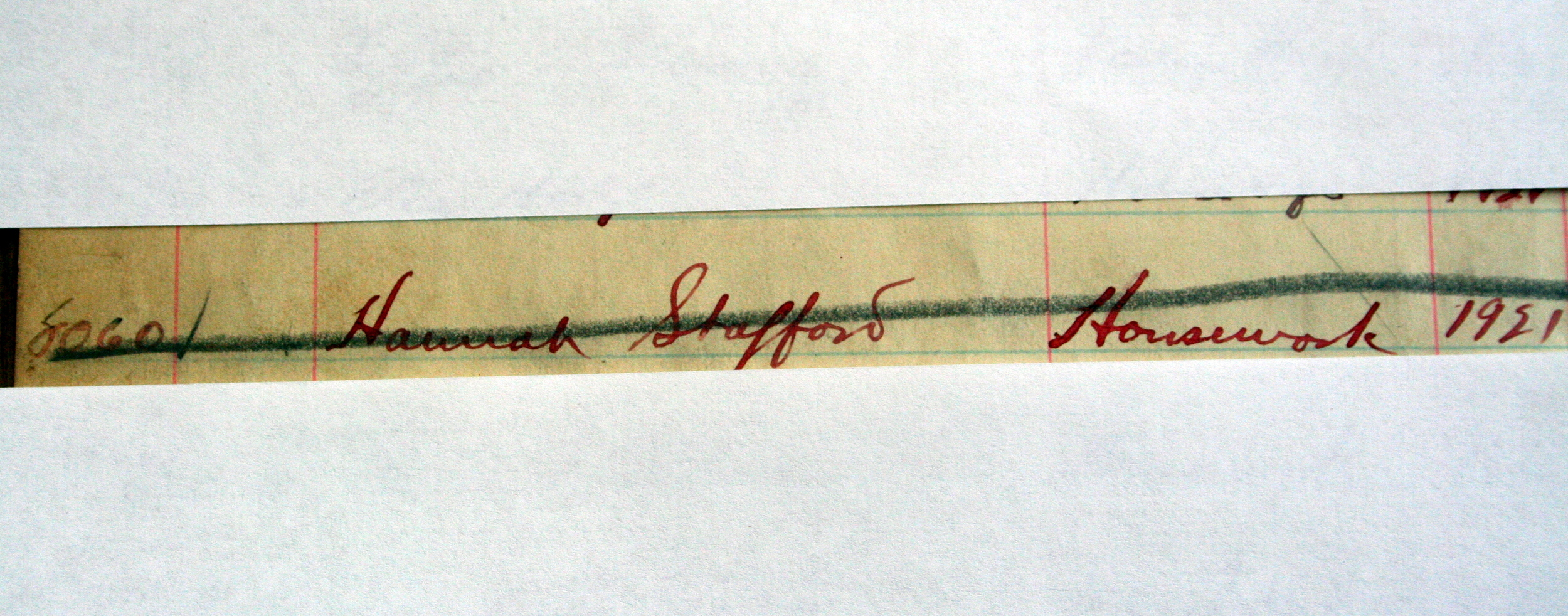 Record at Broughton signifying Hannah died while a patient there.