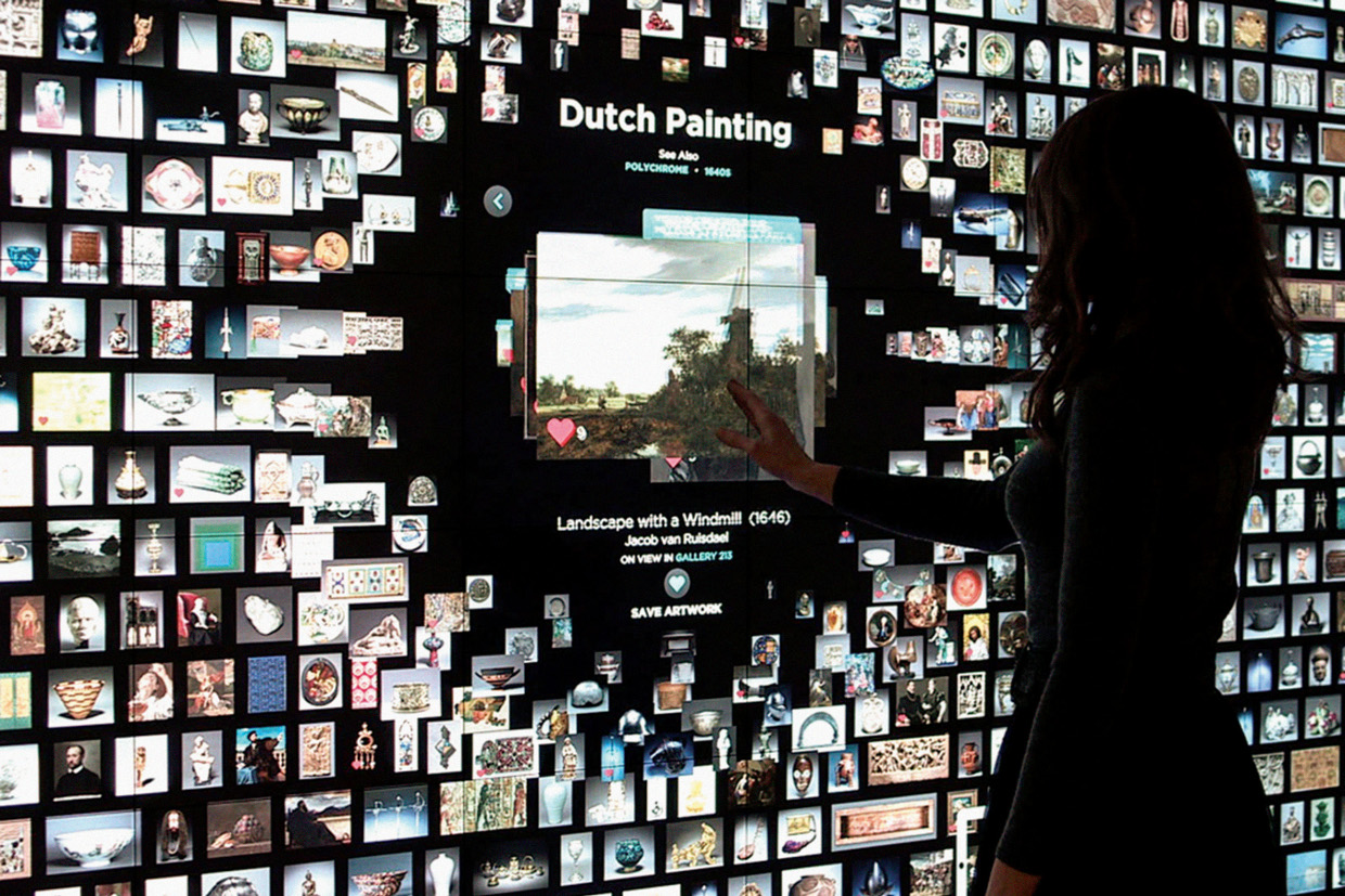 Collection Wall at the Cleveland Museum Art's Gallery One - Winner of the Best of the Web award in 2014 for the Digital Exhibition Category. Image: http://mw2014.museumsandtheweb.com/wp-content/uploads/2014/02/g1main_coverflow_1240_lp1.jpg