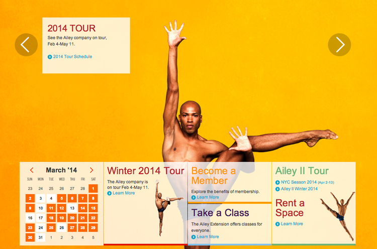 Alvin Ailey America Dance Theater homepage