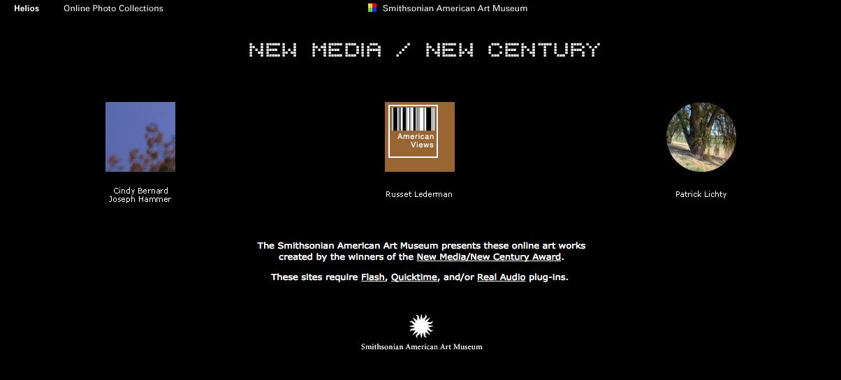 Screenshot of Smithsonian's New Media/New Century Web-Based Art Project  Source: www.americanart.si.edu