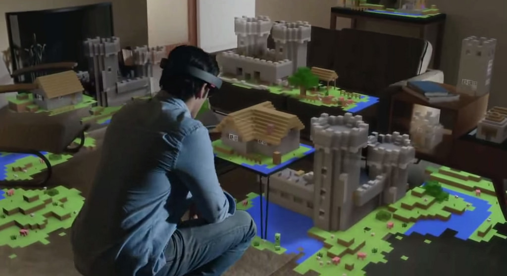 Microsoft's new HoloLens technology brings the world of Minecraft into the living room in its new promotional video. Source - Flickr user  Pierre Lecourt