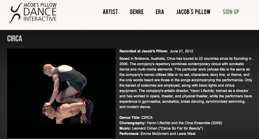 Jacob's Pillow |Dance Interactive
