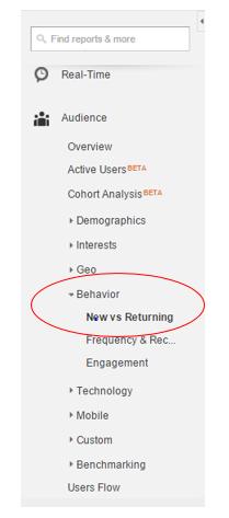 Audience > Behavior > New vs Returning