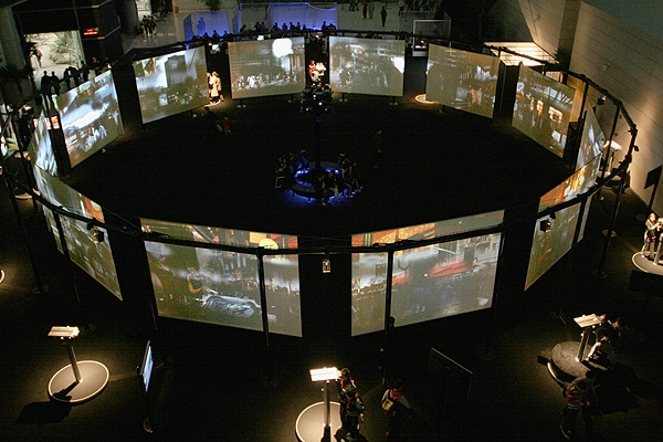 Cosmopolis  (2005) is a giant virtual reality interactive installation by Maurice Benayoun