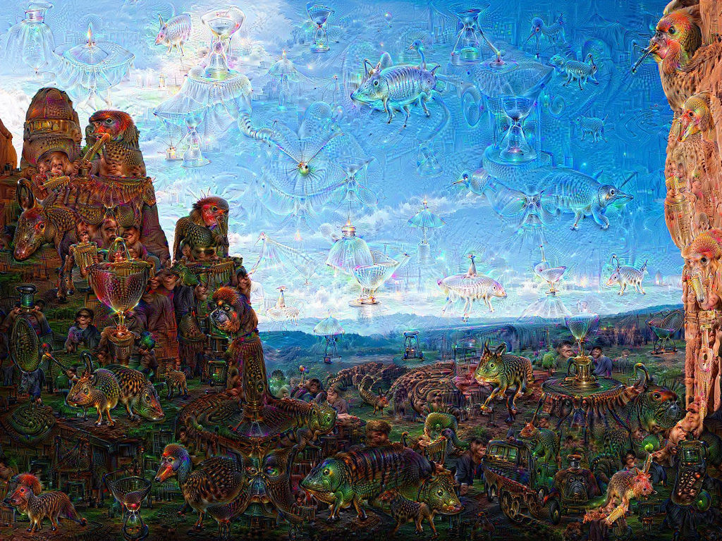 A Google DeepDream picture.A group of 29 paintings created by Google DeepDream was sold at a charitable auction in San Francisco in February 2016. (Photo Courtesy of Google)