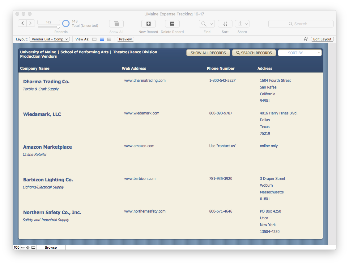 Expense tracking database made in Filemaker Pro by Mary Jean Sedlock