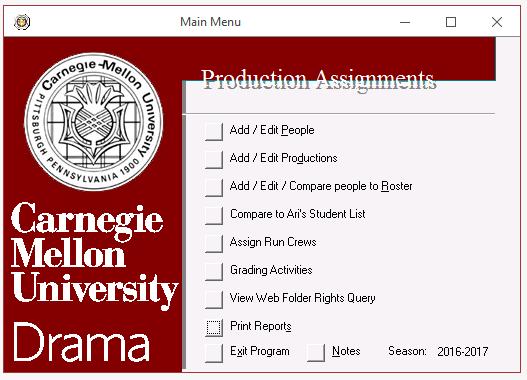 Custom Access database menu made by David Holcomb
