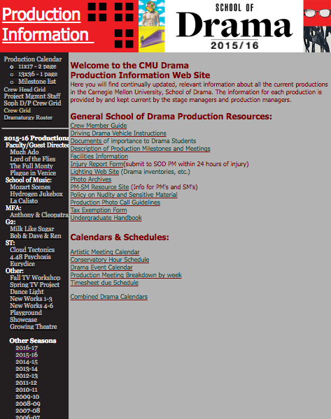 Carnegie Mellon Drama production website homepage, created by David Holcomb