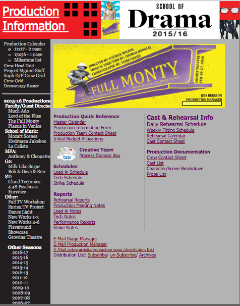 Carnegie Mellon Drama production information webpage, created by David Holcomb