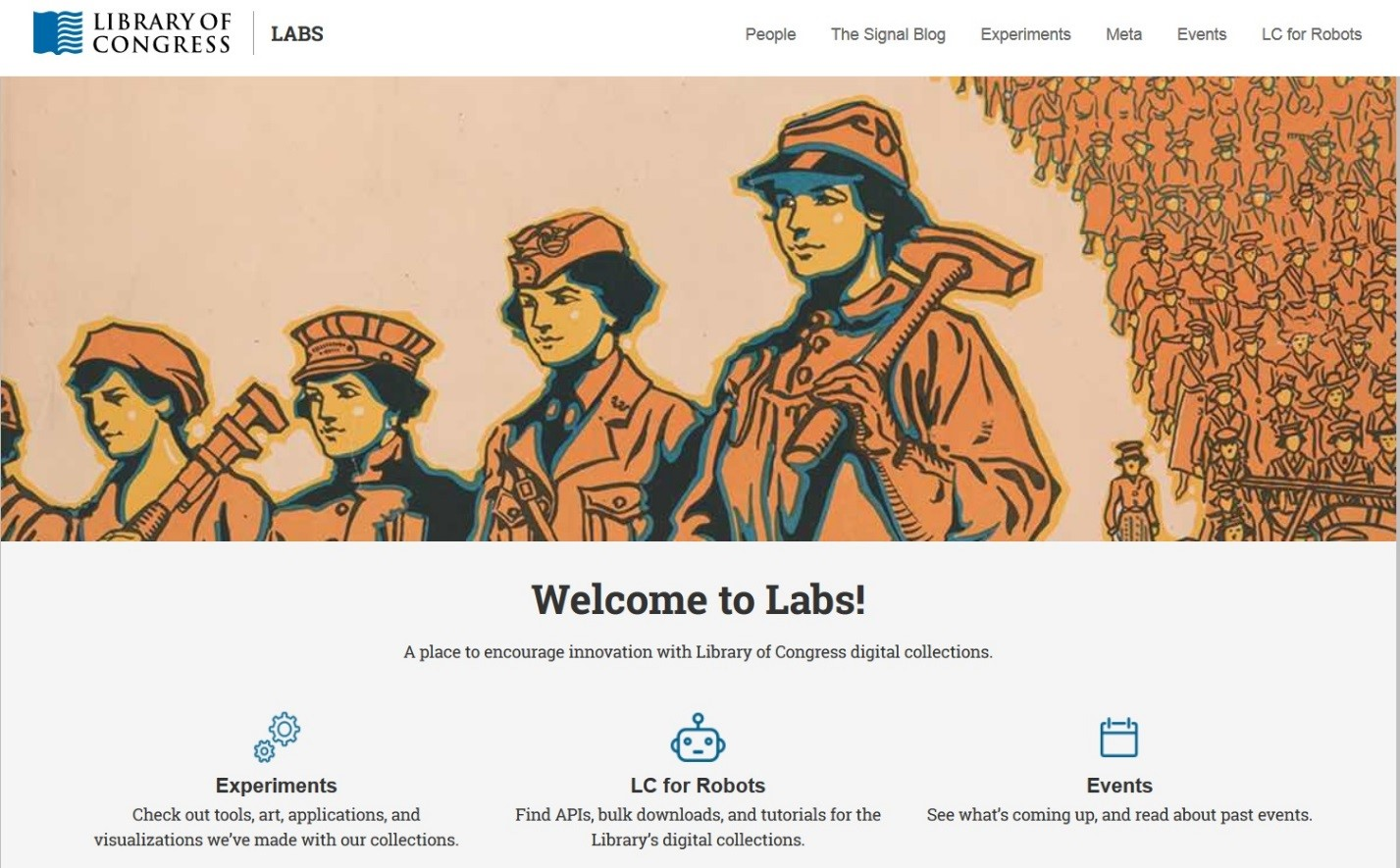 "Library of Congress Labs is their virtual-user experiment space for exploring digital resources. ""Labs.""  Library of Congress . 2018. Accessed March 30, 2018.  https://labs.loc.gov/ ."