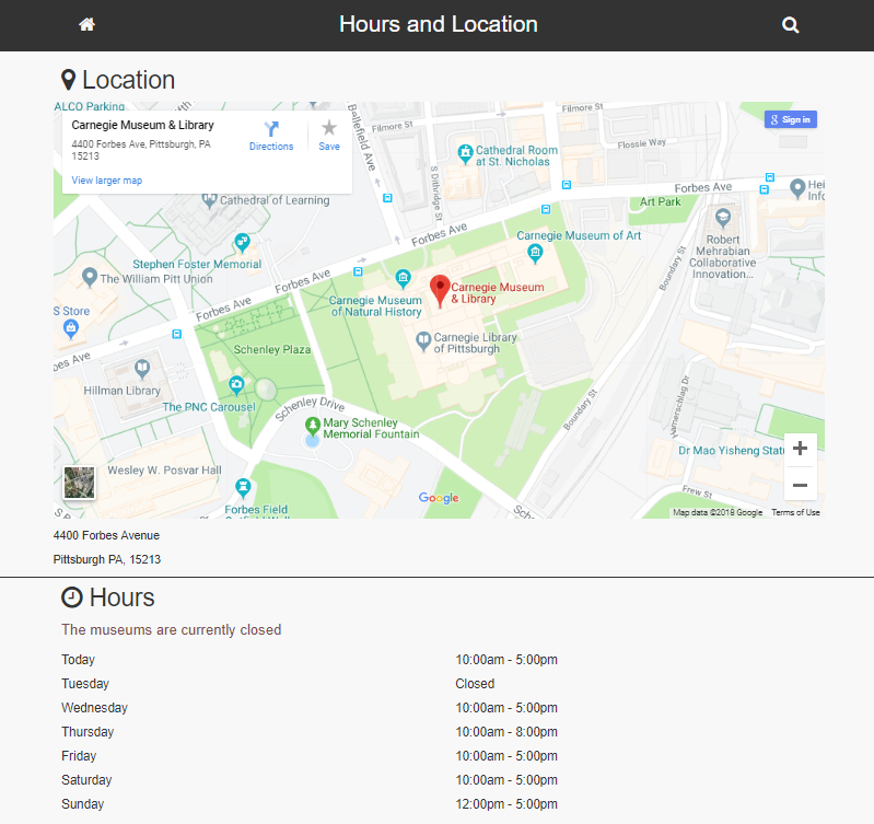 Screenshot of Hours and Location portal