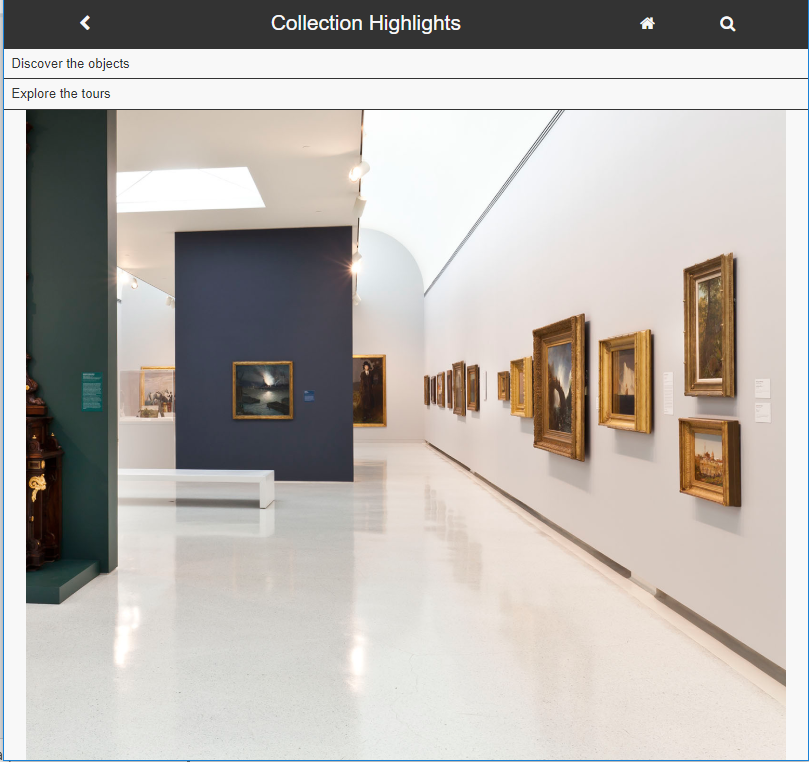 Screenshot of the Collection Highlights portal