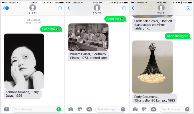 Send Me SFMOMA allows the user to request an item and the service will respond with an image of a work in the collcetion. Source: Techcrunch    https://techcrunch.com/2017/07/10/you-can-text-sfmoma-and-it-will-respond-with-art-on-demand/   , 2017.