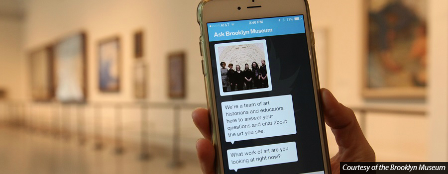 The Brooklyn Museum allows visitors to text questions to members of the museum staff. Source: The Brooklyn Museum    http://www.bu.edu/sequitur/2015/12/01/burges-app/