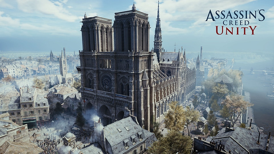 Photo: Image of Notre Dame from Assassin's Creed: Unity  (c) Ubisoft    https://news.ubisoft.com/en-us/article/348227/supporting-notre-dame-de-paris