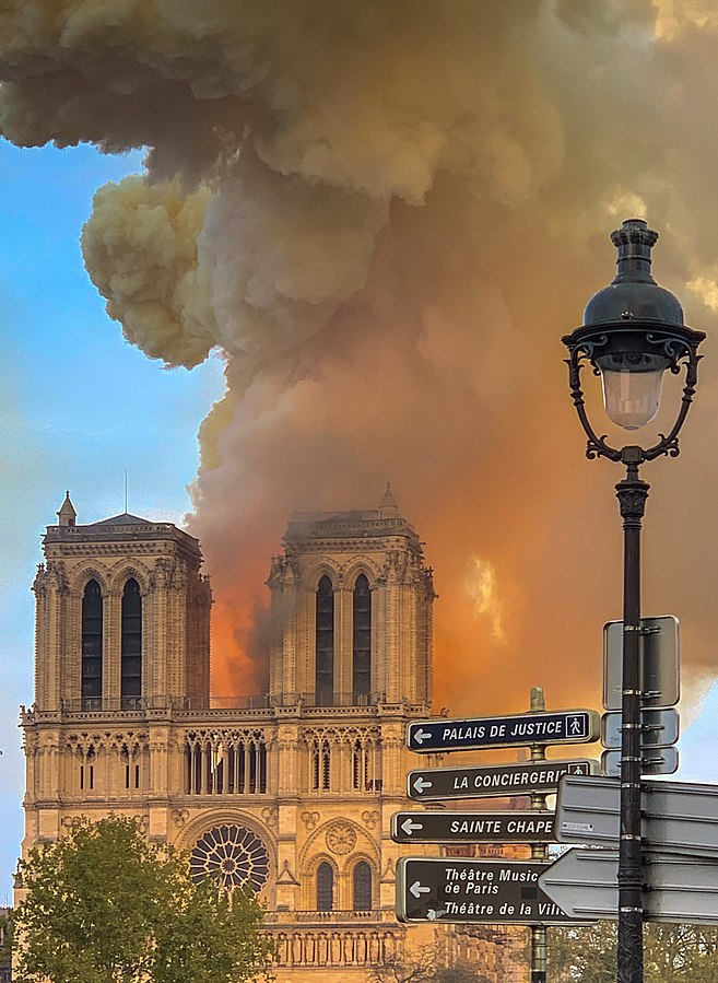 Image: Photo of Notre Dame in flames. Image Credit:  Wikipedia , Millipede, no changes made to image.