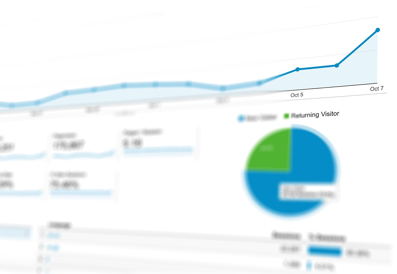 Image: Blurred image of a Google Analytics dashboard.