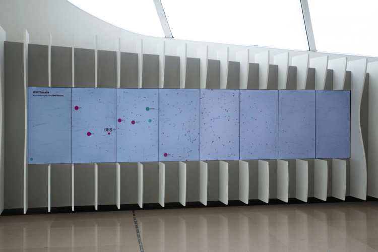 Data visualization screens for Iris+. Photo Credit: Nancy Torres  https://www.aam-us.org/2018/06/12/iris-part-one-designing-coding-a-museum-ai/