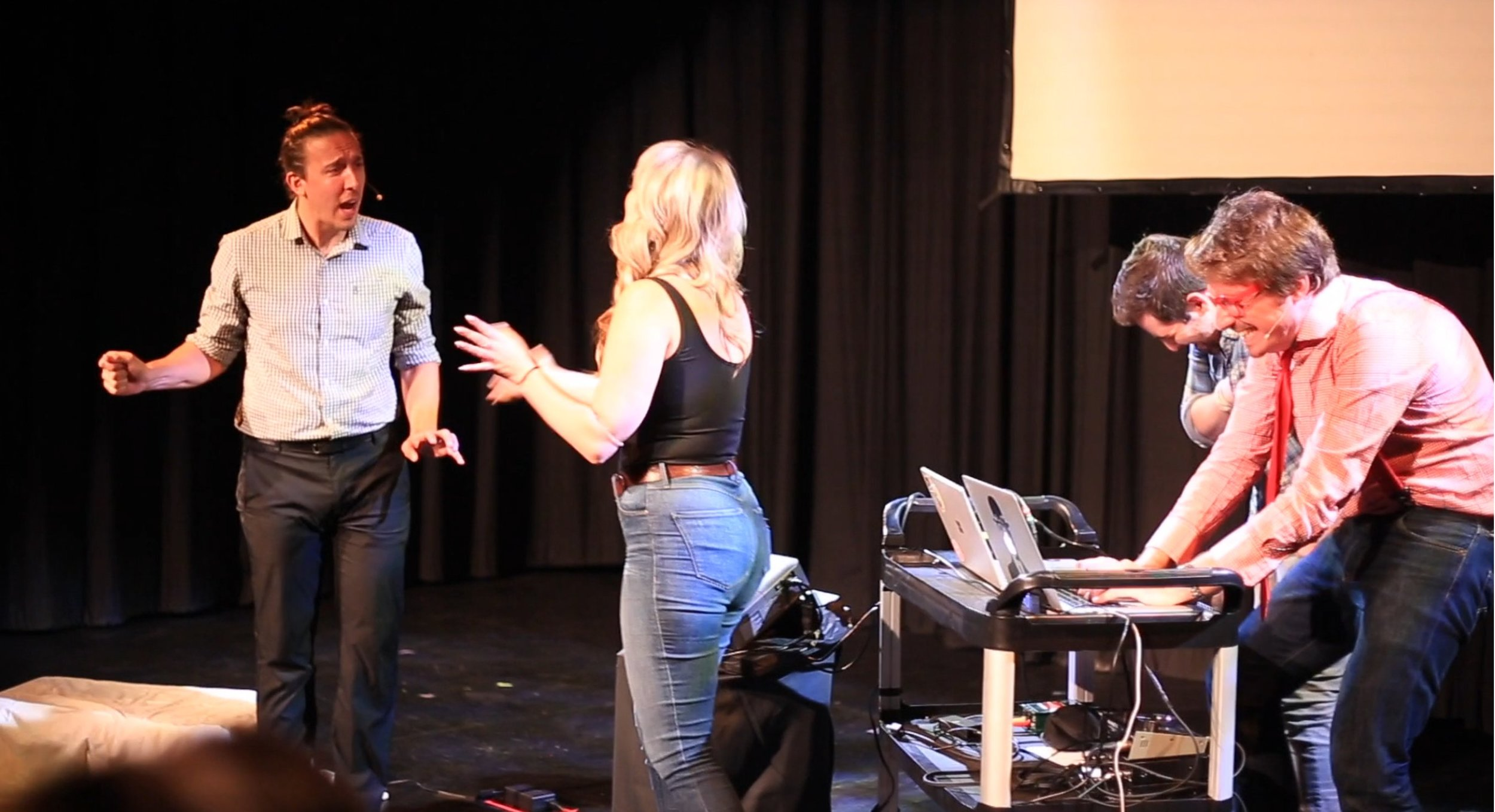 "A performance of ""HumanMachine: Artificial Intelligence Improvisation"" at the Edmonton Fringe Festival. Credit: Alessia Pannese:  https://techxplore.com/news/2018-09-improbotics-machine-intelligence-theatre.html"