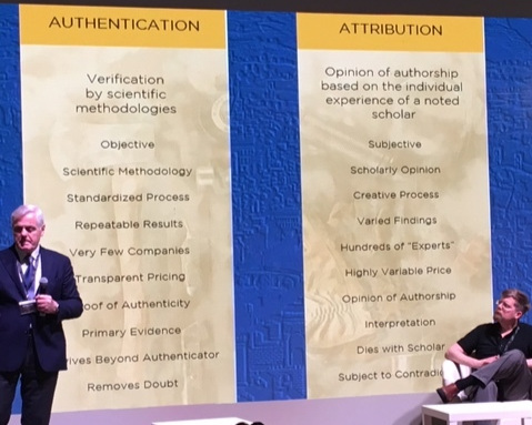 Maurizio Serachini detailing the difference between authentication and attribution.
