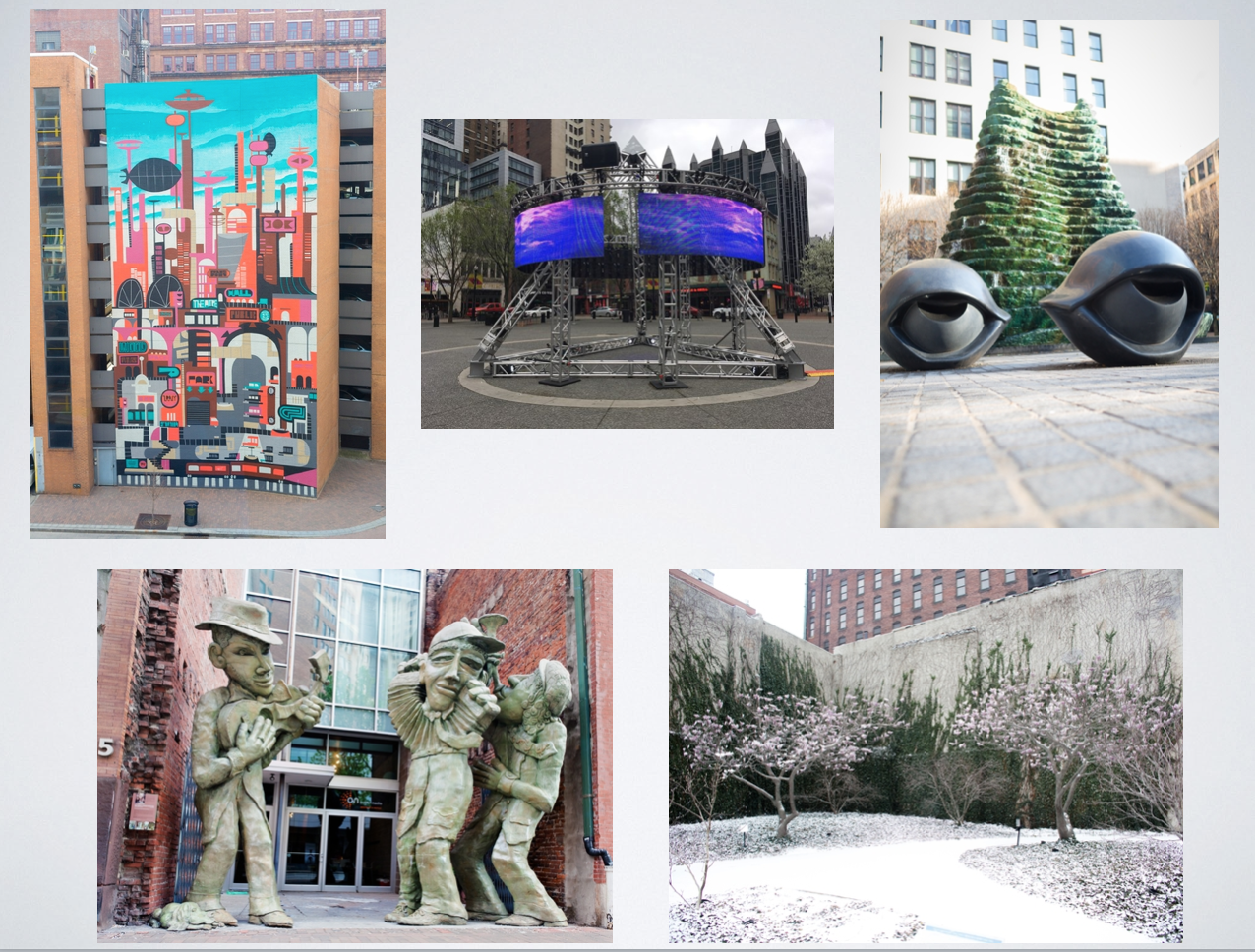 Source: Pittsburgh Art Places, from left to right: Yesterday's Tomorrow, Streaming Sound, Agnes Katz Plaza, Liberty Avenue Musicians, Magnolias for Pittsburgh.