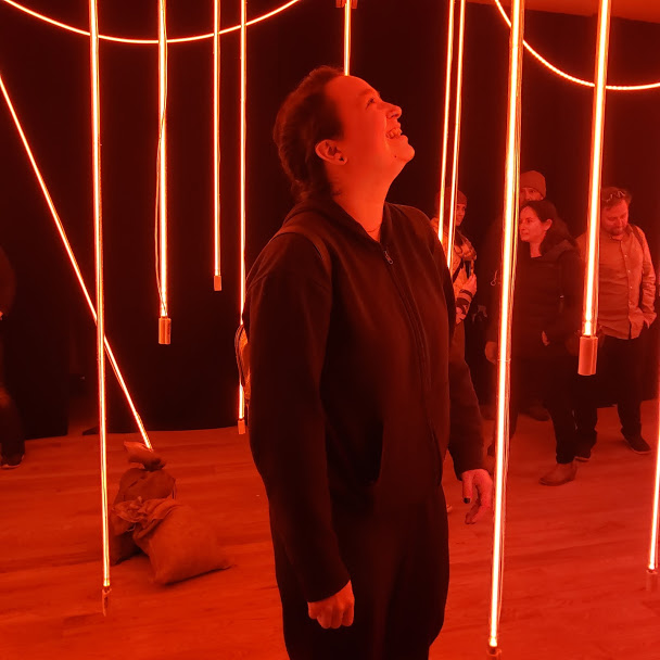 The author's friend looking closely at the main exhibit, where strings of neon lights hang from the ceiling and surround viewers in red light. Photo Credit: Alyssa Wroblewski