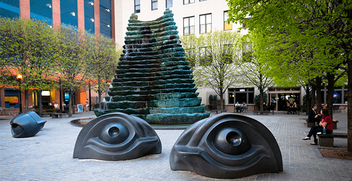 Katz Plaza in Downtown Pittsburgh (one of the public artworks used for study),  Image Source: Pittsburgh Cultural Trust