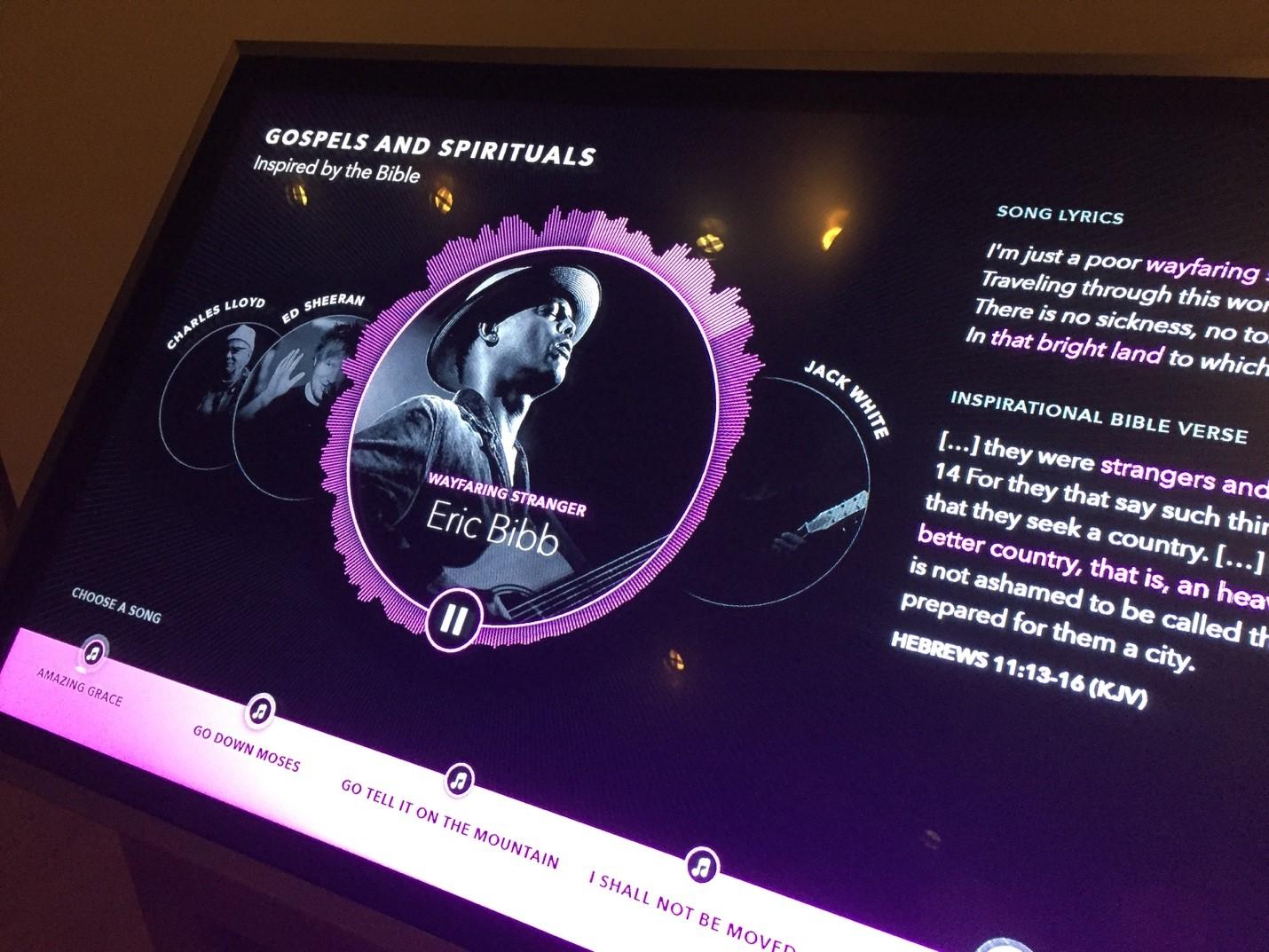 Spirituals, History, and Popular Artist Audio Interactive,  The Impact of the Bible   Photo Credit: Michaela Kizershot White