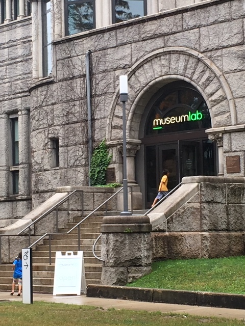 Kids running up the step to the new MuseumLab center at the Children's Museum of Pittsburgh. Image credit: Author