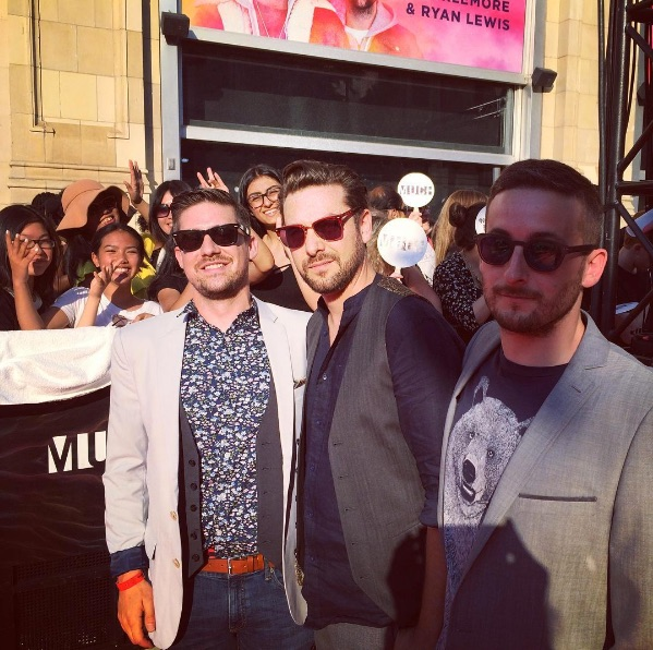 "Daniel AM Rosenberg, Michael Goldlist & Briin ""Briin?"" Bernstein (Left to Right)on the MMVA Red Carpet - June 19 2016"