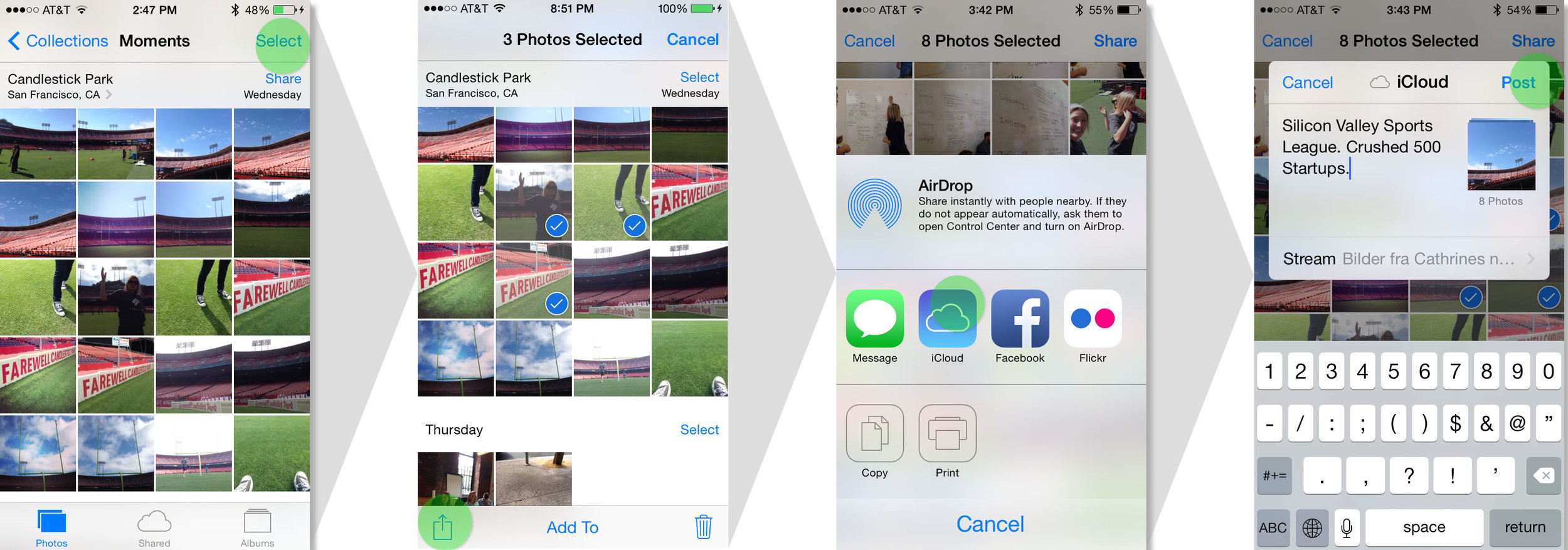 One of 5 current ways to create a photo stream. When asked to share photos via Photo Stream, all 8 users started by selecting photos, then tapping the sharing icon. Half of the test participants dropped off and hit cancel at the third step when Photo Stream was not a sharing option.