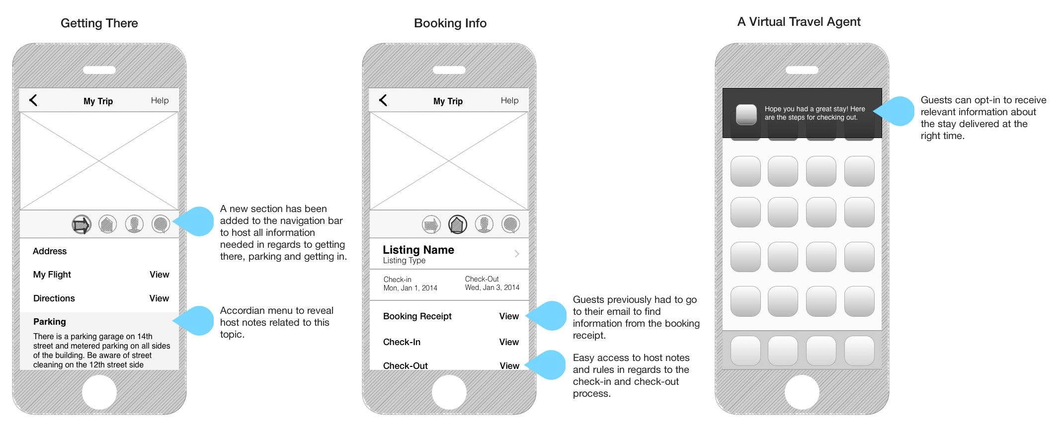 """Adding a """"Getting There"""" section not the nav bar, extracting and grouping information from host notes and proactive messaging were some of the iterations to the current app experience that would help the guest have a more frictionless trip experience."""