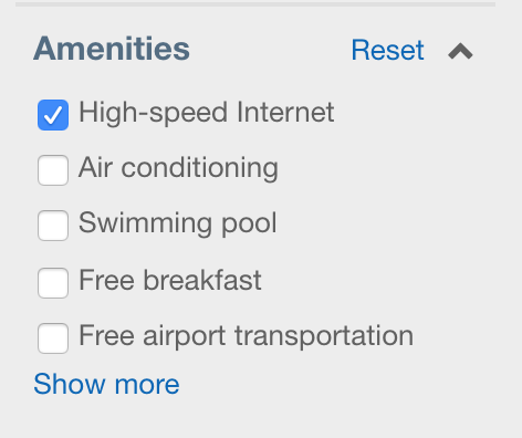 "Instead of ""Free Wifi"" Expedia is letting you filter by ""High-Speed Internet"". However, I'm not sure what the criteria for high-speed Internet is versus regular WiFi. Do they mean wired?"