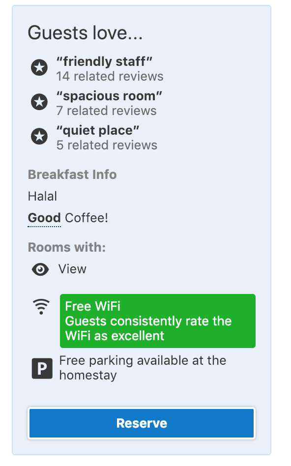 "Booking.com shows an ""Excellent WiFi"" badge on some hotel listings, but they won't let me use this as a filter to find only hotels that have been rated with Excellent WiFi."