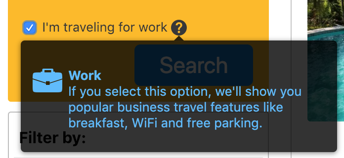 "Expedia lets you select whether or not you're traveling for business, but they're just saying they will show you popular business features. It's not clear how they are filtering the results and there's not any more information in the listing than what you'd get if you had just checked off for the ""Free WiFi"" filter."