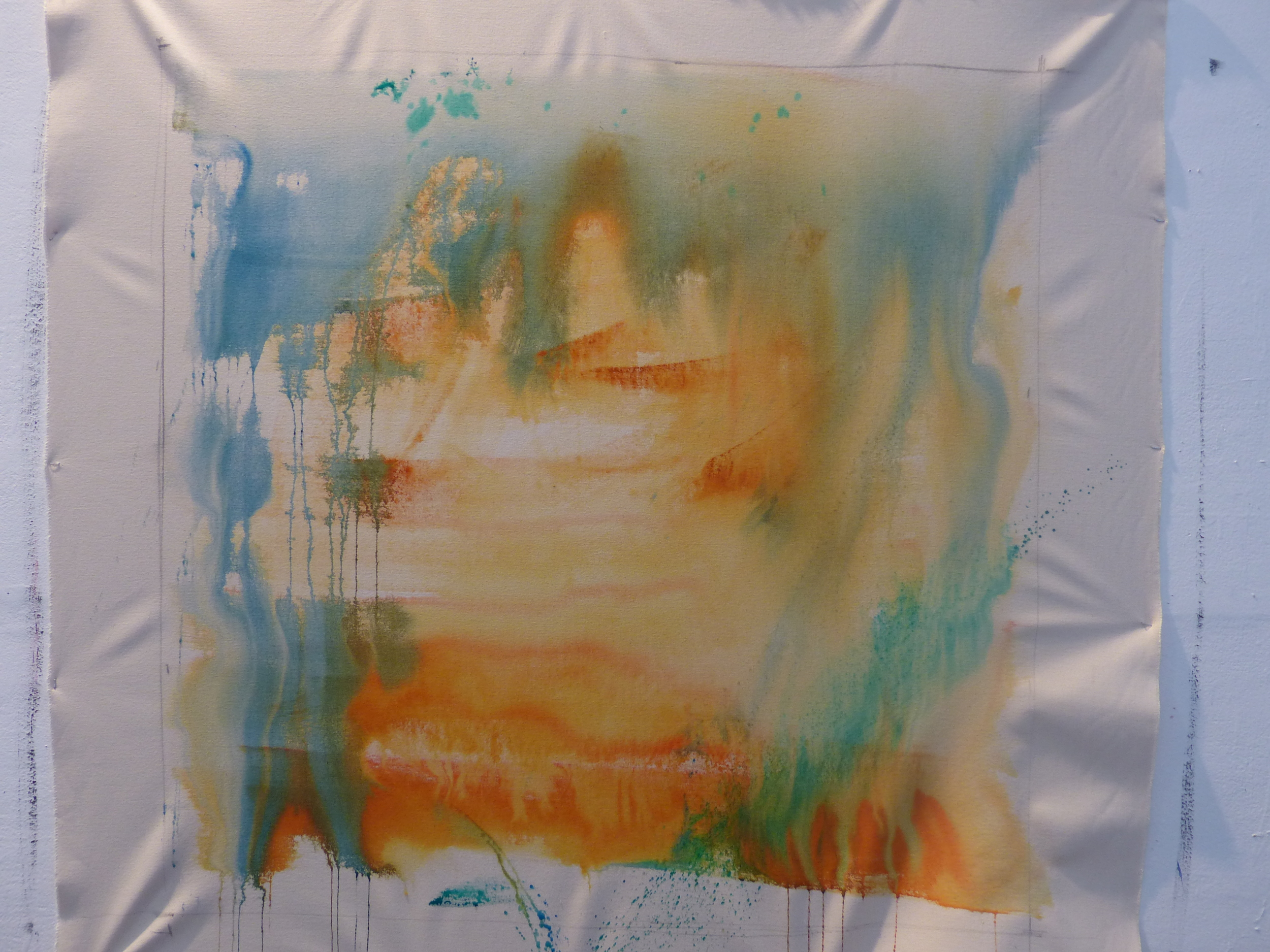 Blending colors of Thalo Green, Thalo Blue, Naples Yellow and Cad Red Light on raw canvas....how far do I take a painting? How highly workedmust the surface beto be of value?