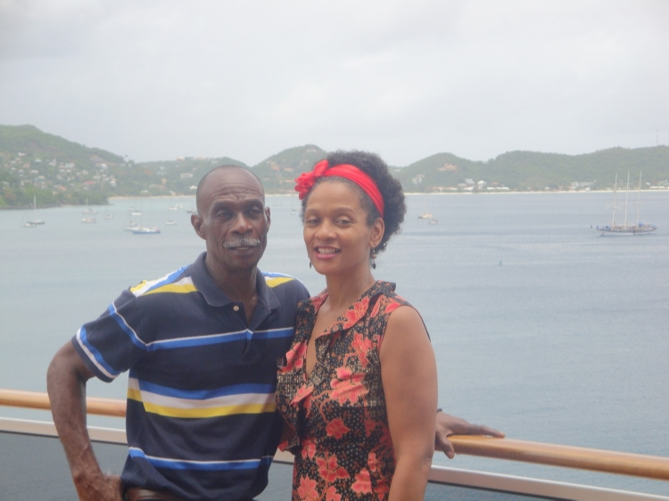 Ferron and I on the deck of the MSC Divina docked at the cruise ship terminal at the Esplanade, St. George's.