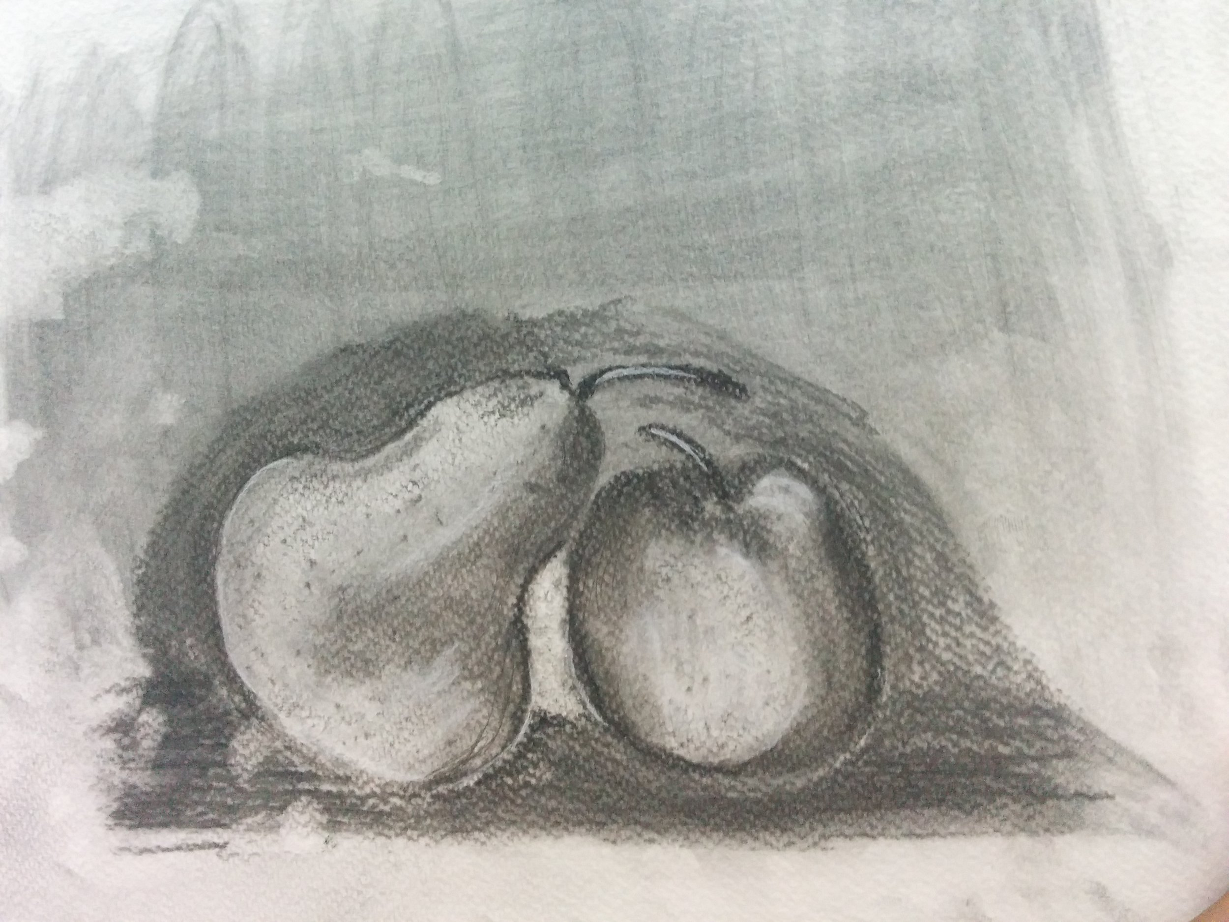 Pear and Apple in Charcoal.jpg