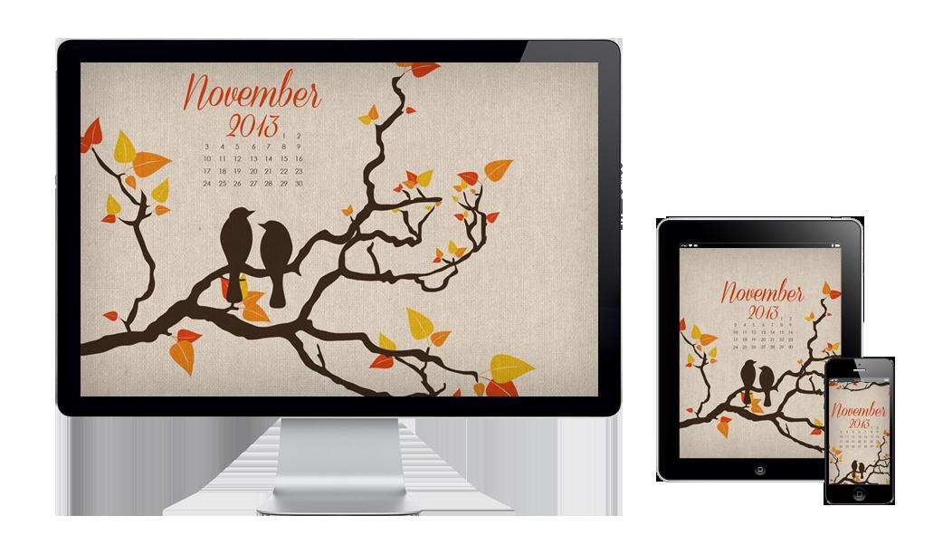 Six Leaf Design November Free Wallpaper Design
