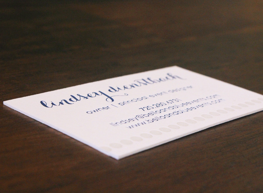 six leaf graphic design bello and blue letterpress business card