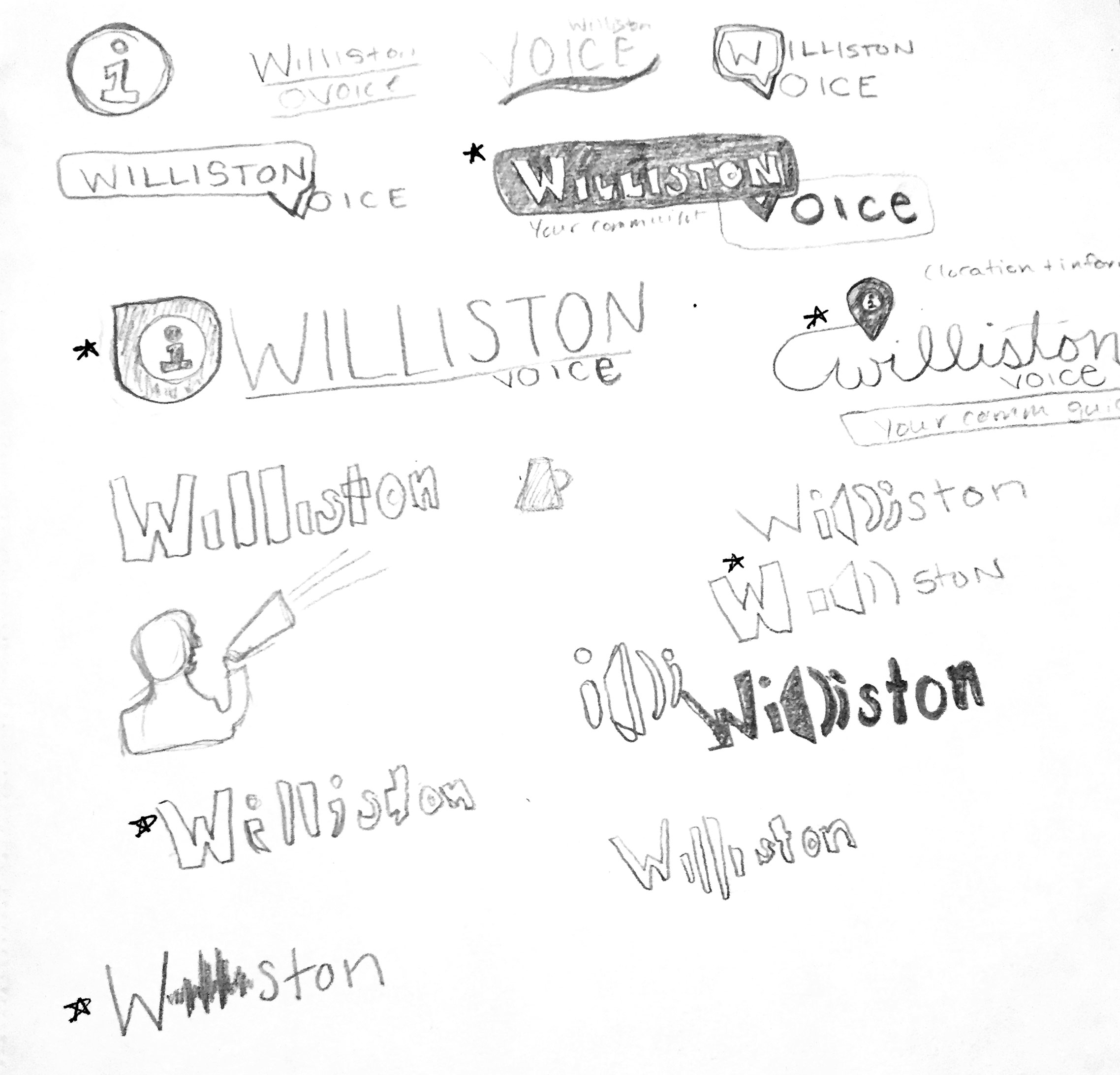 Initial logo design sketches for Williston Voice