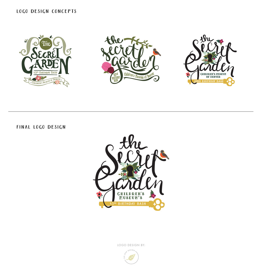 Secret Garden Themed Logo Design Featuring Custom Hand-Lettering and Floral Illustrations