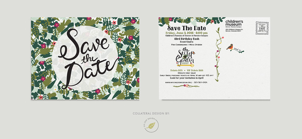 Secret Garden Themed Save The Date Design Featuring Custom Hand-Lettering and Floral Illustrations