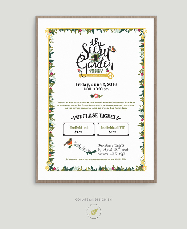 Secret Garden Themed Poster Design Featuring Custom Hand-Lettering and Floral Illustrations