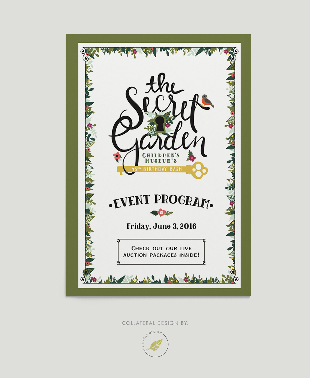 Secret Garden Themed Program Design Featuring Custom Hand-Lettering and Floral Illustrations