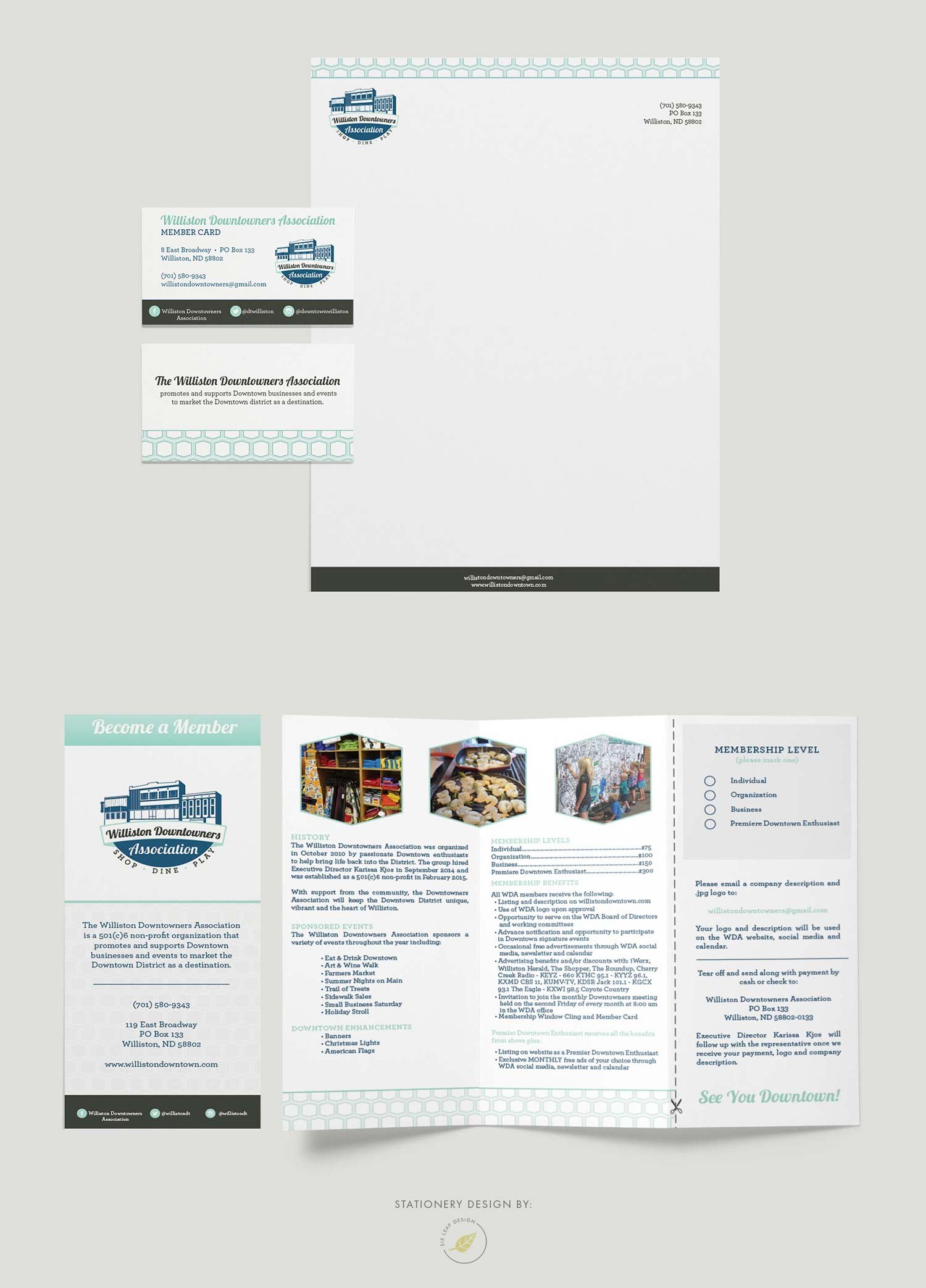 Logo, brand identity, business cards, stationery and trifold brochure design for Williston Downtowners Association