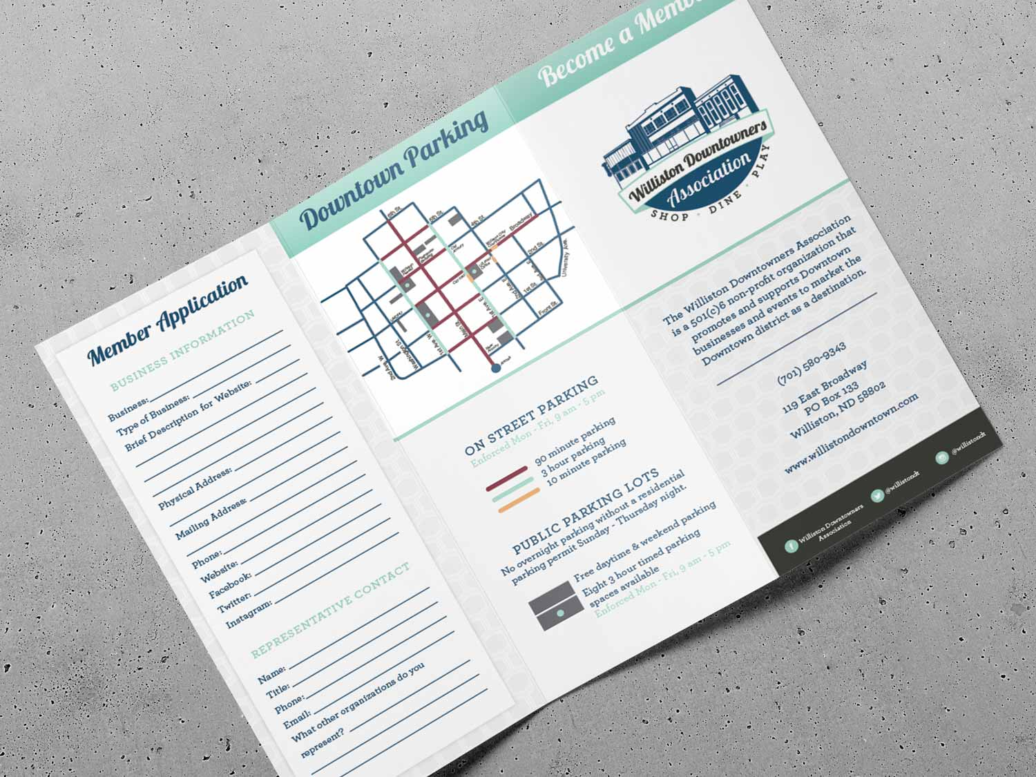 Logo, brand identity, trifold brochure and website design for Williston Downtowners Association