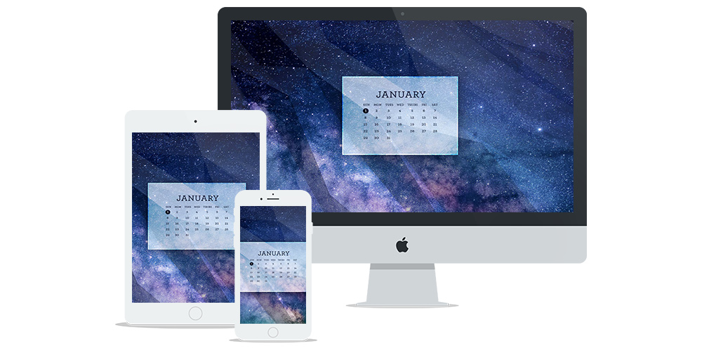 Free Digital Wallpaper Design for January 2017 with Universe Background and Calendar